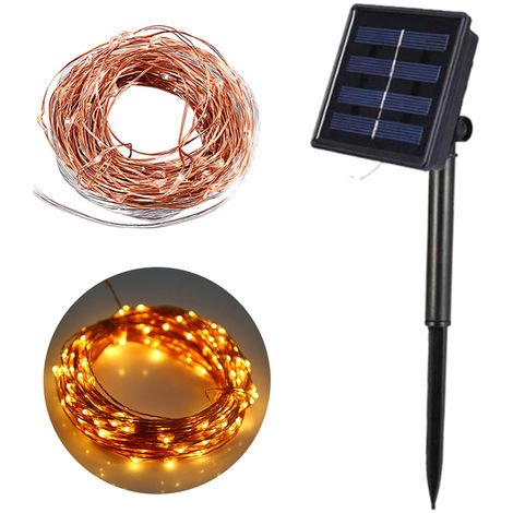 10M/32.8ft 100 LEDs Solar Powered String Lights Solar Copper Wire Lamp Fairy Lights, Warm White