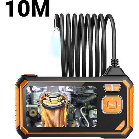 10M / 32.8ft tubo semir¨ªgido portatil 1080P HD LCD de 4,3 pulgadas Digital endoscopio industrial de 8 mm con doble objetivo boroscopio Camara de inspeccion, 6pcs LED