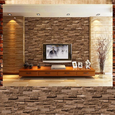 10M Brick Stone Effect 3D Wallpaper Wall Paper Roll Home Room Art Decor Decal