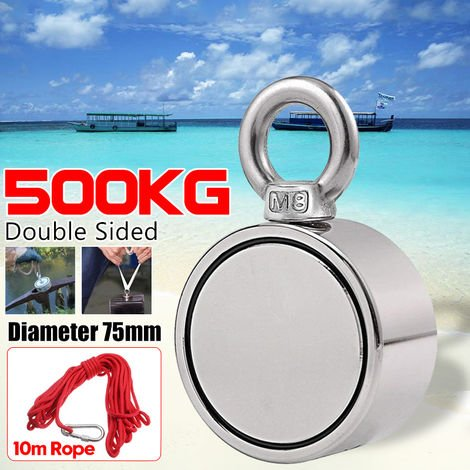 """main image of """"[10M Free Ropes] 500Kg Round Double Sided Neodymium Fishing Magnet, Traction Force Ultra Powerful Neodymium Magnet with Eye Bolt For Magnetic Fishing And River Recovery"""""""