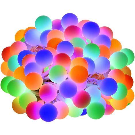 10M Guirlande Lumineuse RGB, 100 LED Boules 8 Modes d'Éclairage, Chaîne de Lumières Étanche, Décoration Idéal pour Soirée, Fête dans Pièce, Jardin, Terrasse, Pelouse, Cour etc.