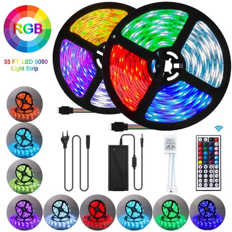 10M RGB 5050 LED Strip Lights, 300LEDs SMD Color Changing with 44-Keys Remote Control, IP65 Waterproof 12V Power Decoration for Kitchen Wedding Party Garden House [Energy Class A++]
