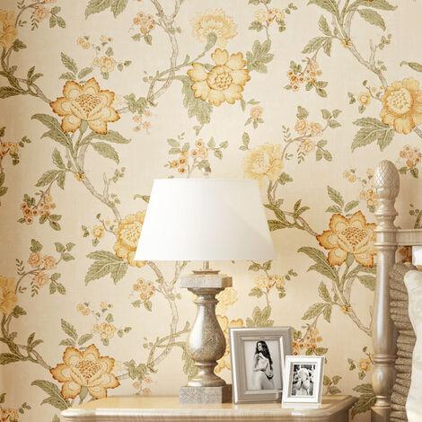 10M Rustic Modern Flowe Wallpaper Roll Livingroom Wall Paper