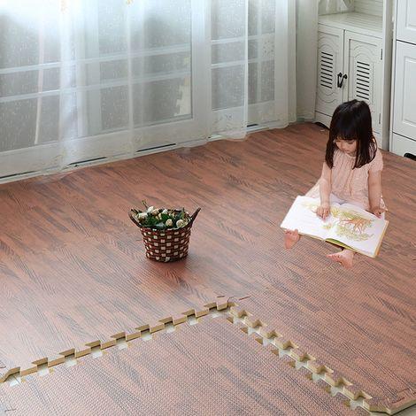 10pcs 31x31cm tapis de sol de jeu pour enfants en mousse EVA en bois brun