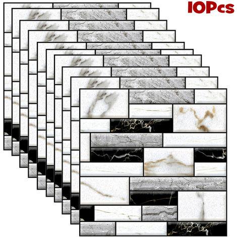 10pcs 3D autocollants de carrelage mural auto-adhésif