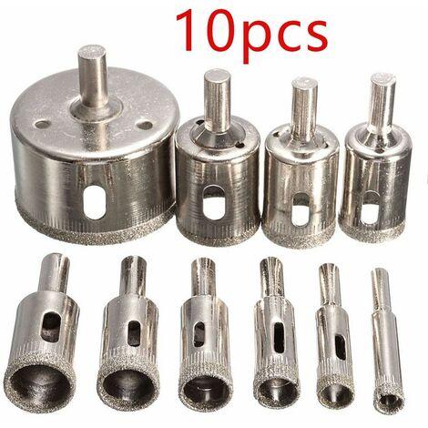 10Pcs 6-30mm Diamant Scie Perceuse Ensemble 100 Grits Carrelage Verre Marbre Foret Argent