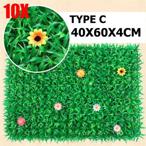 10Pcs Artificial Plant Wall Grass Foliage Hedge Mat Fake Vertical Panels