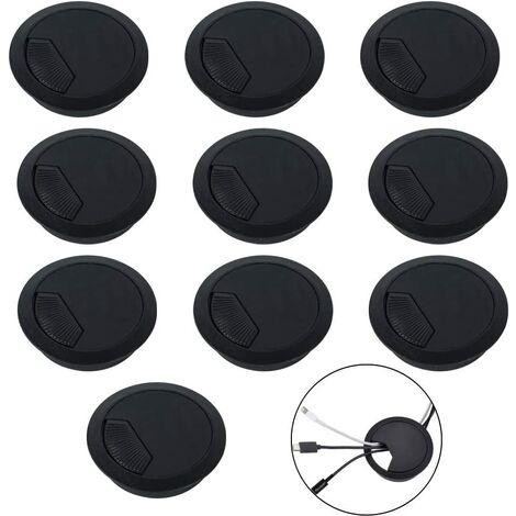 10pcs Couvercle de Filetage de Câble Table 60mm Passe-câbles Ronds Noir Encastrables en Plastique Passe-Fil avec Brosse Couvercle de Trou de Câble Rangements de Câbles pour Passage de Câble