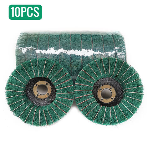 10pcs de nylon abrasivo de pulido para pulir rueda de la fibra del disco Dia. 100 mm de fibra de nylon de la aleta de la rueda de pulido, verde