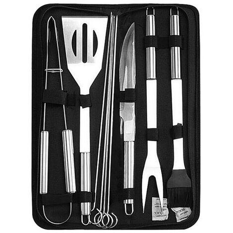 10pcs ensemble d'outils de barbecue en acier inoxydable kit d'outils de barbecue accessoires barbecue 9pcs plus sac noir