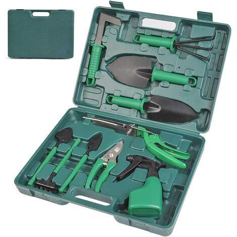 10Pcs Gardening Tool Set, Rustproof Shovel and Pruner for Outdoor Gardening, Harrow, Water Sprayer and Durable Storage Bag for Women and Men