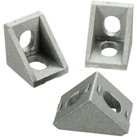 10PCs Junta de esquina de aluminio Soporte en ángulo recto Gris 20mm Herrajes para muebles Clavos Tornillos y fijaciones
