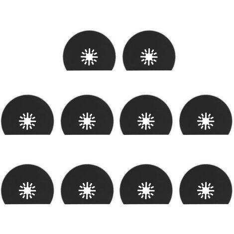 10Pcs Lames de Scie Oscillantes 80mm / 3.1inch Kit de Déblocage Rapide pour Multitool Oscillant Semi-circulaire en Acier au Carbone pour le Ponçage, le Meulage et la Coupe