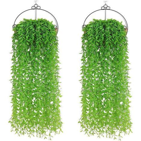 10pcs Lierre Plante Artificielles Feuilles de Lierre Guirlande Artificielle pour Decoration Mariage Balcon Cuisine Jardin Bureau