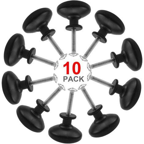 10PCS Noir Tiroir de Porte Poignée, 30mm Bouton de Meubles, Unique Trou Rond Boutons de Tiroir, Boutons de Porte, Poignées de Meuble pour Placard Armoire Cuisine, chambre d'enfant