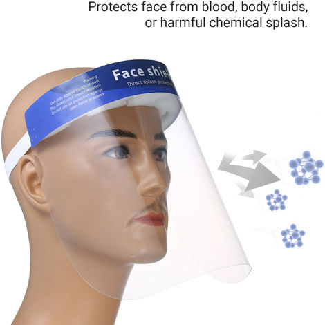 10Pcs/Pack Disposable Safety Face Shield Fluid Resistant Full Face Mask Transparent