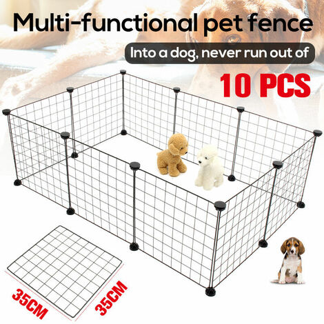 10Pcs Pet Dog Puppy Pen Rabbit Foldable Playpen Indoor Outdoor Exercise (10Pcs)