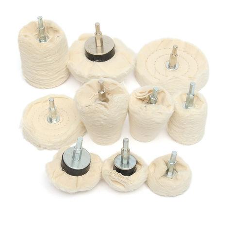 10Pcs Polishing Wheel Fabric For Electric Drill Grinder 34-105Mm Hasaki