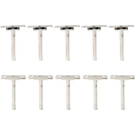 10Pcs Support 4 '' 10Mm Wall Shelf Unit Of 20-30Mm Hidden Detachable Height Adjustment