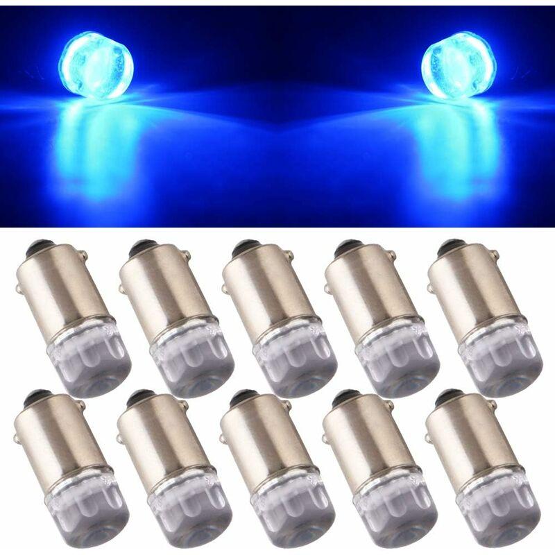 Abcrital - 10Pcs T11 T4W BA9S H6W 1895 3030 1W 1SMD 1-LED RV Car Tail Side Marker Indicateur Intérieur Angle Inverse lumière LED Ampoule 12V DC Bleu