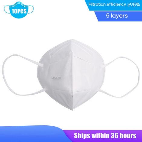 10Pcs Visage Couverture Ffp2 A Usage Unique Bouche Couverture 5 Couche 95% Filtration Arret Pm2.5 Particules Respirateurs Respirant Antipoussiere Bouche Couverture