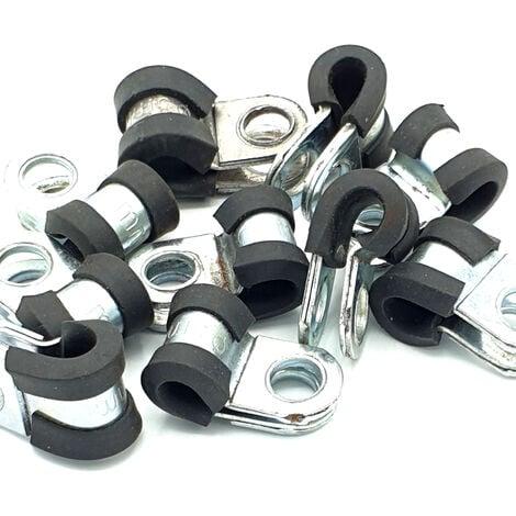 """main image of """"10pcs x 5mm câble p-clips revêtus de caoutchouc tuyau en acier p colliers"""""""