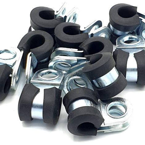 10pcs x 6mm Rubber Lined Cable P-Clips Steel Hose P Clamps