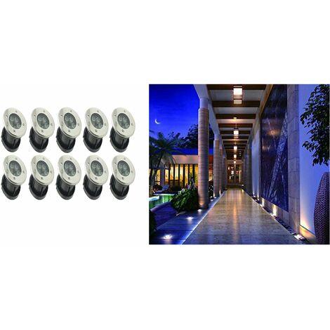 10pz Faretti segnapassi 5 led luce fredda 5w giardino esterno calpestabile dr