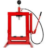10t Workshop press with pressure gauge (2 jaws, automatic piston retraction, working height 375 mm, working width 350 mm)