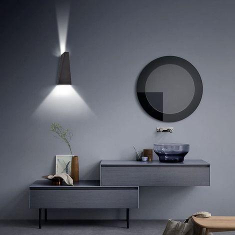 10W LED Lámpara de Pared Modern Luz de Pared Arriba Abajo Brillar Aplique de Pared para Sala de Estar Decoración Dormitorio (Negro, Blanco Frío)