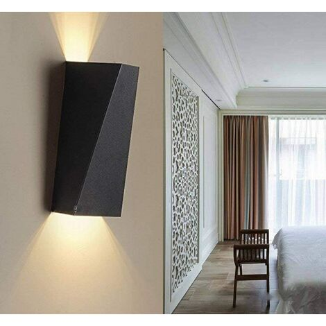 10W LED Wall Lamp Modern Wall Light Up Down Wall Sconce for Living Room Bedroom Decoration (Black, Warm White)