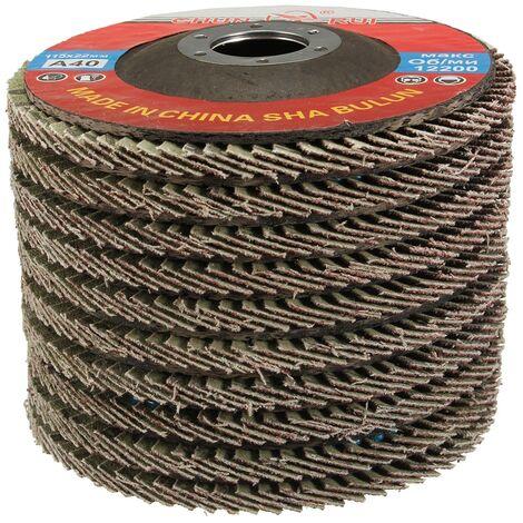 10x 115 mm 22 mm discos de corte de aluminio para lijado óxido 40 granos abrasivos muelas abrasivas aleta amoladora angular
