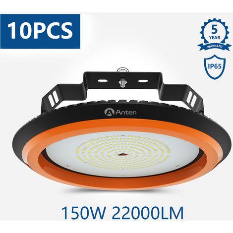 10X 150W UFO LED Alta Bahía Luz, 22000Lm Lámpara LED de Alta Bahía Industrial Iluminación para Almacén Comercial (IP65, 4500K)