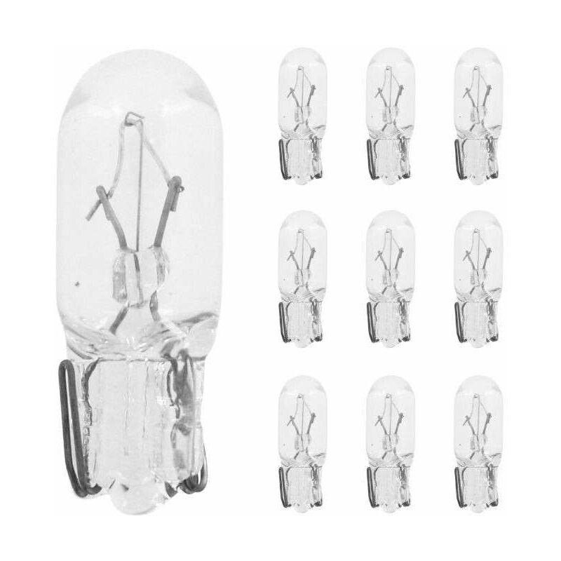 10x Ampoule 12V 1,7W T6,5 transparent W2.2x5.2D