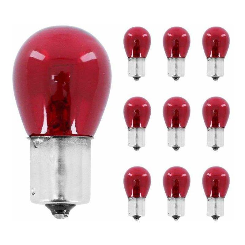 10x Ampoule 12V 21W BA15S rouge