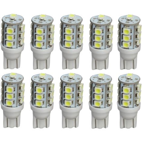 W5W Blanc  pour éclairage lumière  plafonnier 2 ampoules à  LED smd  T10