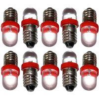 10x ampoules E10 LED 12V lumière rouge