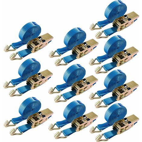10x Arebos Sangle d'Arrimage à cliquet 800 kg, 6 m, EN 12195-2, GS - bleu
