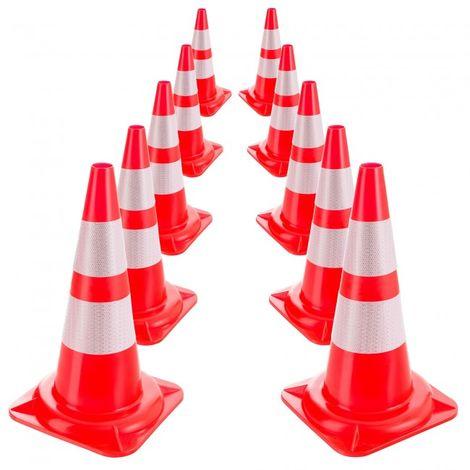 10x Arebos Traffic Cone Warning Cone Safety Cones Road Cone Reflective 50 cm