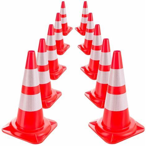 10x Arebos Traffic Cone Warning Cone Safety Cones Road Cone Reflective 50 cm - rojo