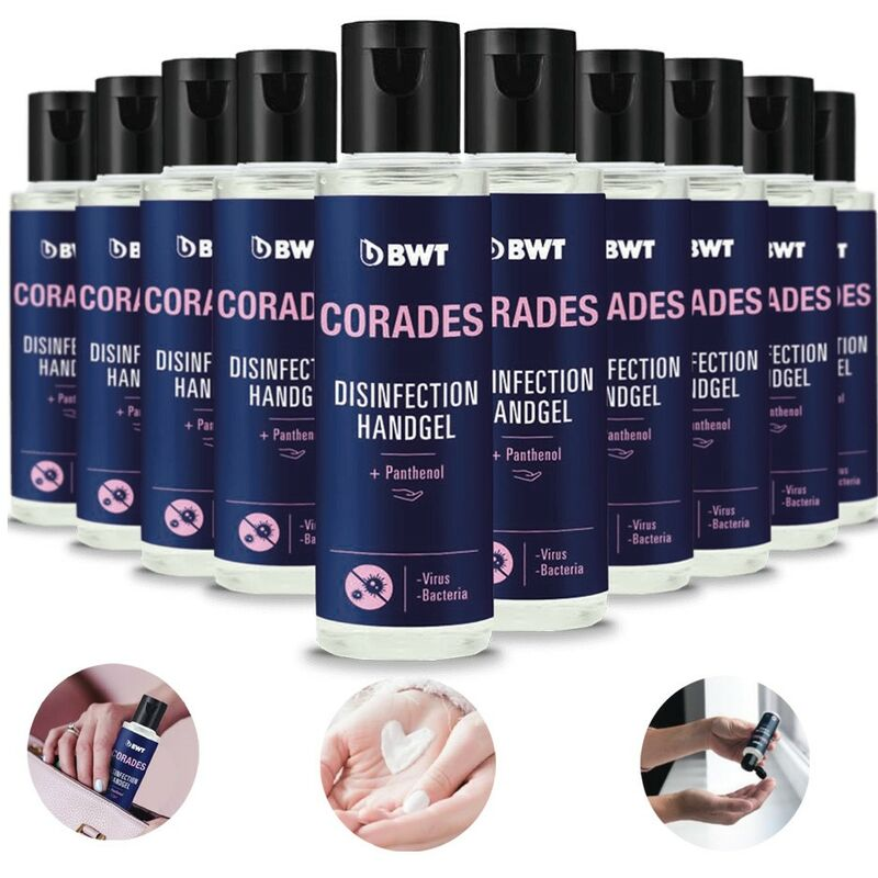 Image of 10x CORADES Hand Sanitizer Gel 70% Sanitizer Fragrance Disinfectant 50ml - BWT