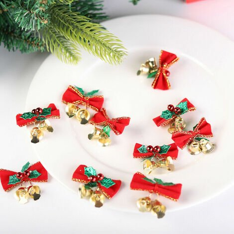 10x Christmas Bow with Holly Bells Xmas Mini Bowknot Craft Ornament Tree Hanging