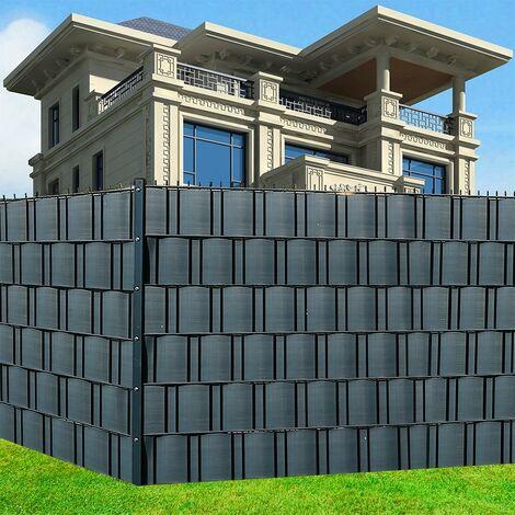 10X Écran d'intimité en PVC rigide Bandes d'écran d'intimité Bandes d'écran d'intimité Tapis à double barre Panneau de clôture Clôture sur mesure Tapis à double barre Feuille de clôture Bandes Coupe-vent -