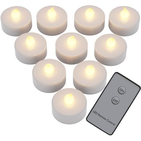 10x flackernde LED Teelichter warmweiß mit Fernbedienung (Ein/Aus) + Batterien - Led Kerzen 10er Set