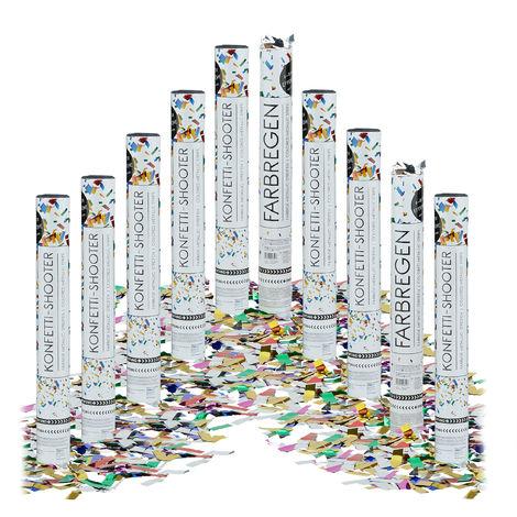 10x Lanceurs confettis 40 cm canons party popper plusieurs couleurs fête décoration mariage cadeau anniversaire portée 6-8 m, plusieurs couleurs métalliques