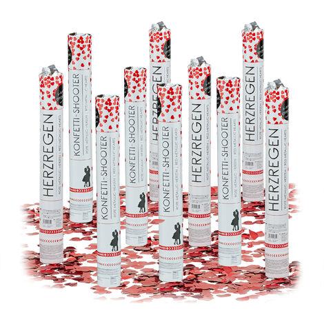 10x Lanceurs confettis coeurs rouges 40 cm canons party popper fête décoration mariage cadeau anniversaire portée 6-8 m, rouge métallique