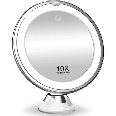 """main image of """"10X Magnifying Makeup Mirror with Lights, 3 Color Lighting, Intelligent Switch, 360 Degree Rotation, Powerful Suction Cup, Portable , Good for Tabletop, room, Traveling"""""""