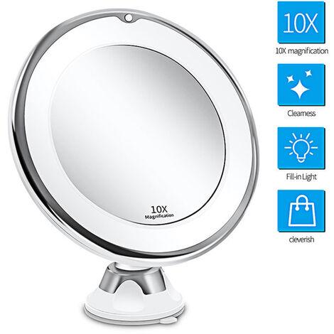10X Miroir de maquillage grossissant avec lumières,Commutateur intelligent, Rotation à 360 degrés, ventouse puissante, portable, bon pour le dessus de table, salle de bain,