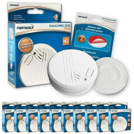 10x Nemaxx detector de humo FL2 - según la norma EN 14604 con tecnología fotoeléctrica sensible e inalámbrica! + 10x Nemaxx NX1 Pad de fijación