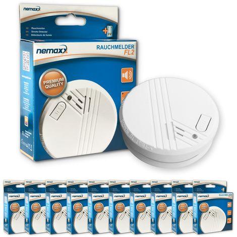 10x Nemaxx detector de humo FL2 - según la norma EN 14604 con tecnología fotoeléctrica sensible e inalámbrica!